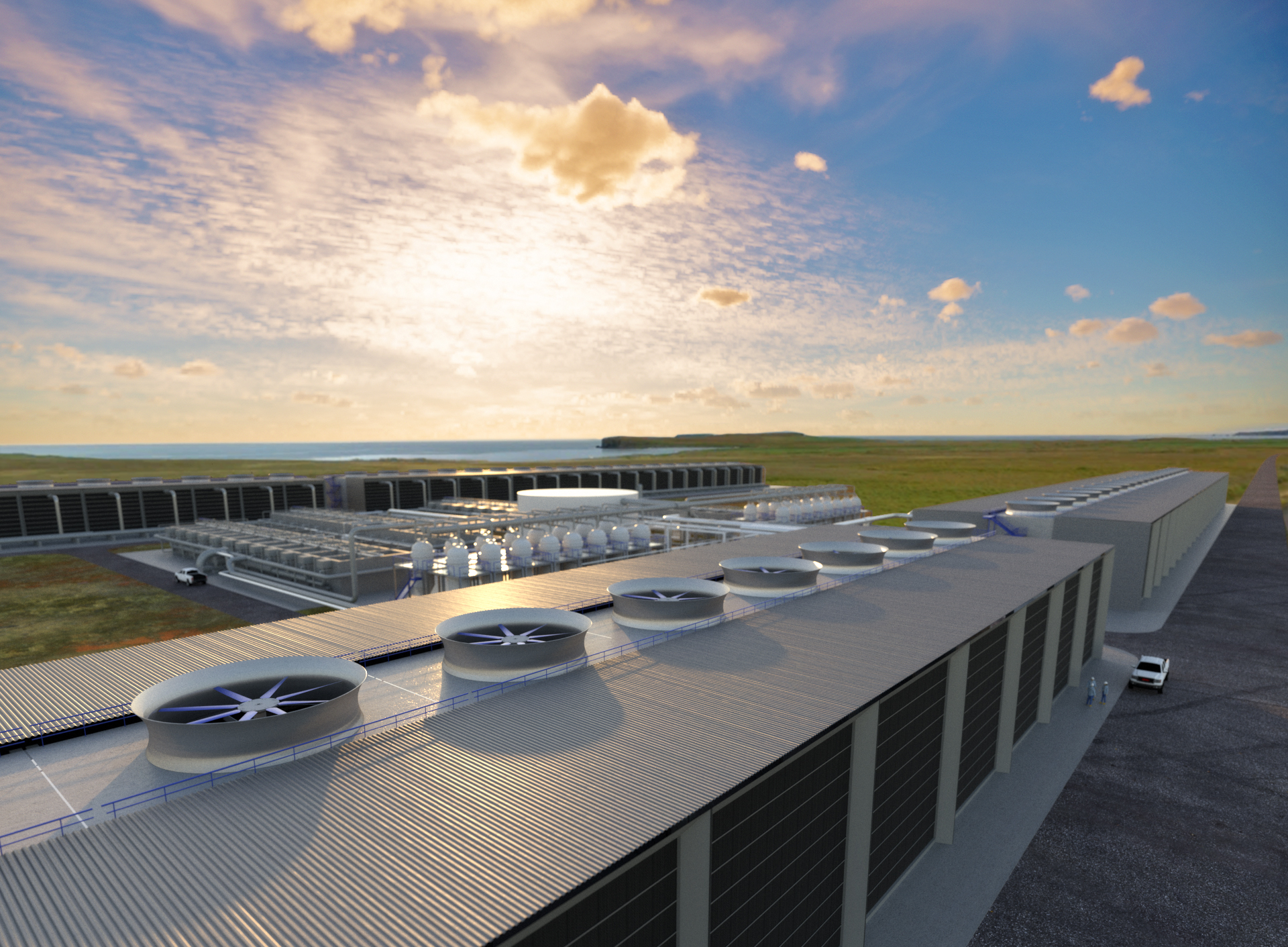 an artist rendering of the direct air capture plant showing a large building with big fans on top
