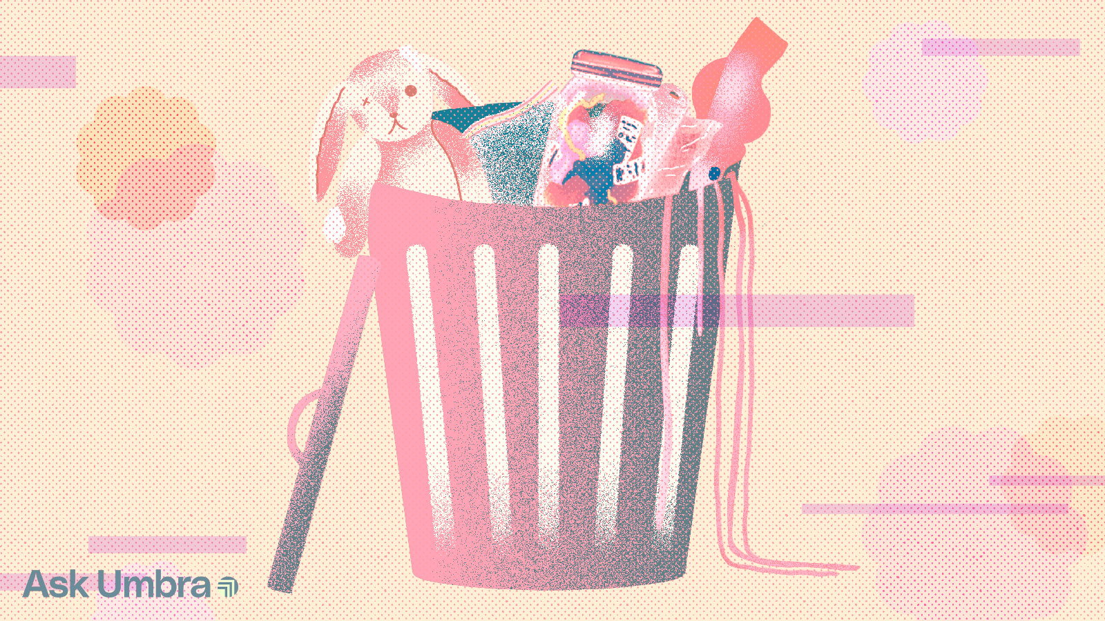 Illustration of a rabbit plush, a plastic bag, a mason jar full of trash, plastic wrap, and a bigfin squid, inside of a trash can