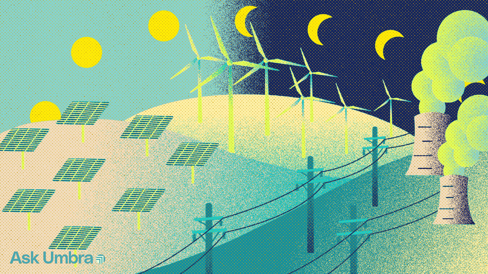 Illustration of a landscape with solar panels, wind turbines, cooling towers, and power lines