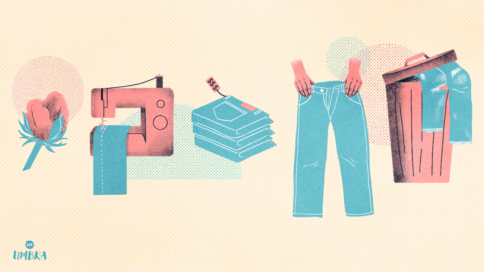 An illustration of (from left to right) a cotton bud, a sewing machine sewing jeans, a stack of jeans with a price tag, a pair of hands holding up jeans, and a garbage can with jeans hanging out of them.