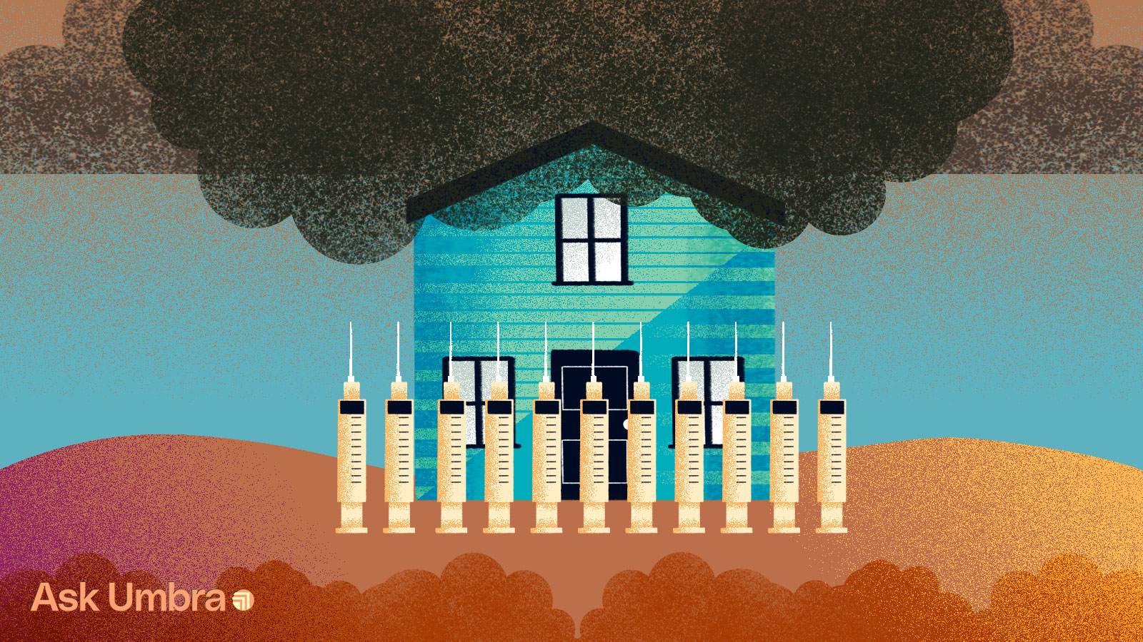 Illustration of a house with a picket fence made of syringes and smog clouds hovering above