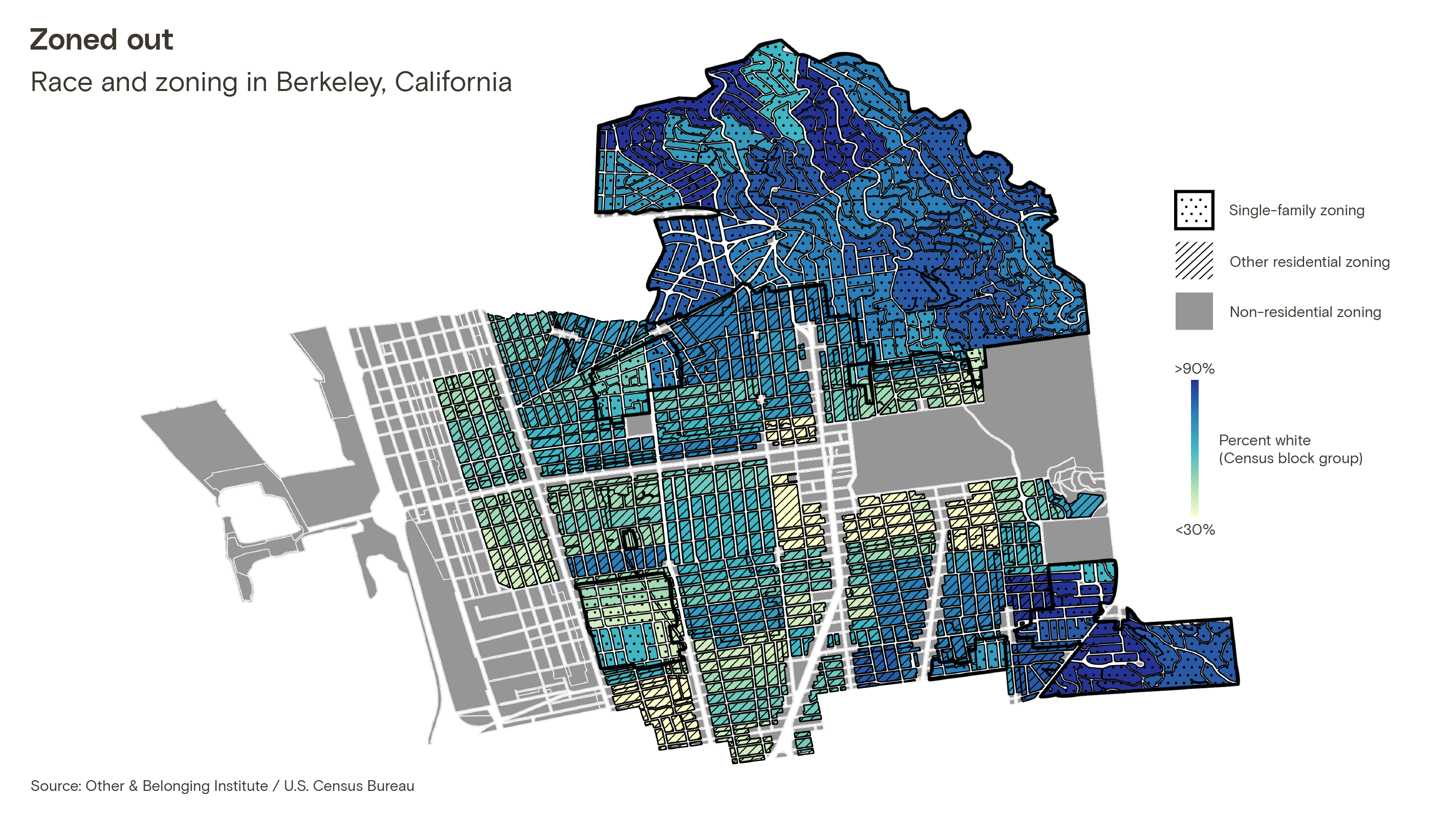 A map of Berkeley showing residential zoning categories and race by Census block group (using a blue-green color scale, in which a higher percentage of white people is represented by a darker shade of blue). Single-family zoned areas in the northeast region of the map have a higher percentage of white people than other residential areas in the center of the city.