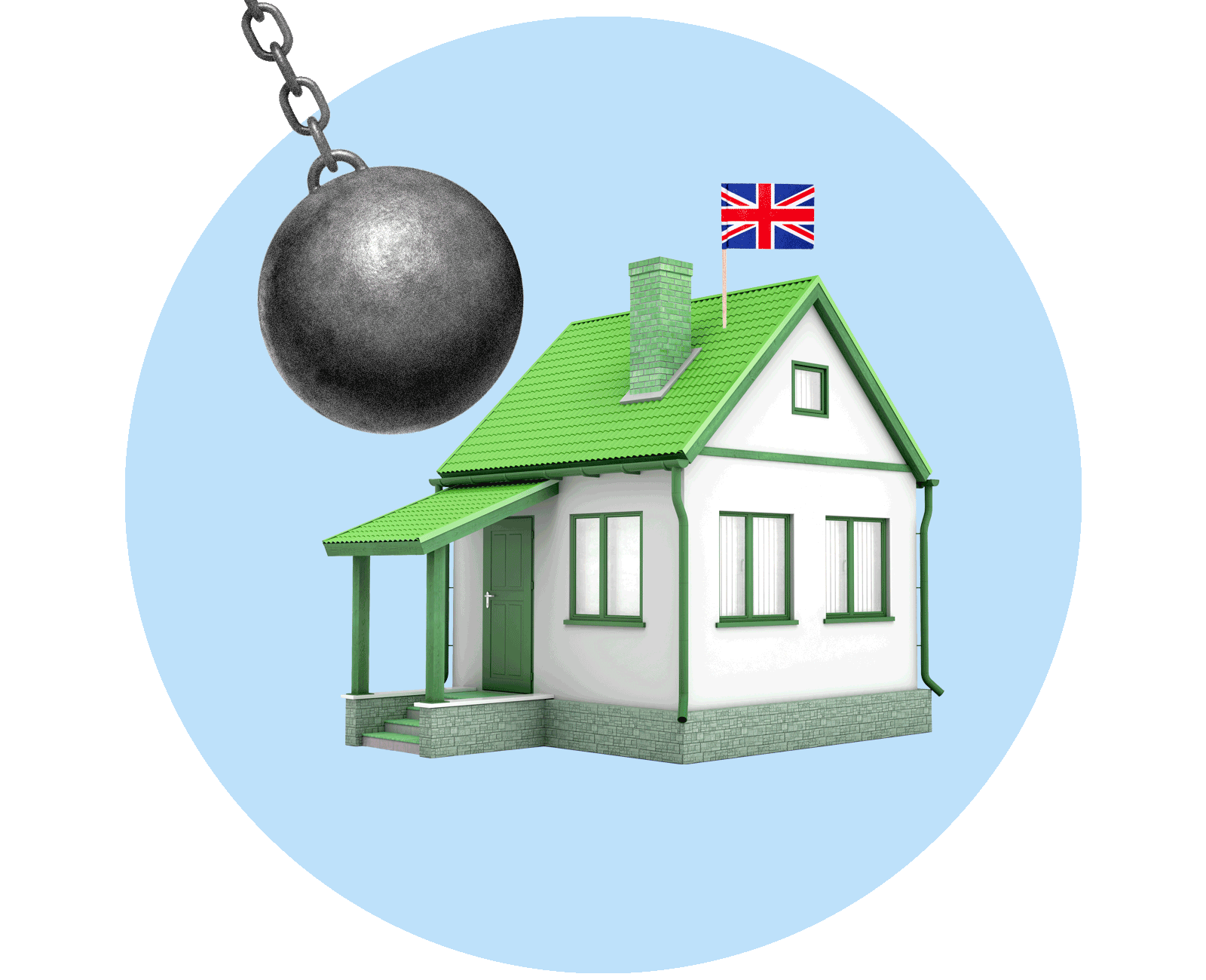 A wrecking ball swinging towards a green house with a UK flag on the roof