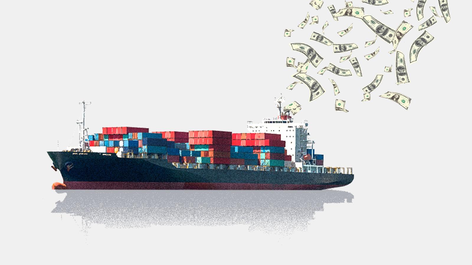 A cargo ship belching money out of a smokestack
