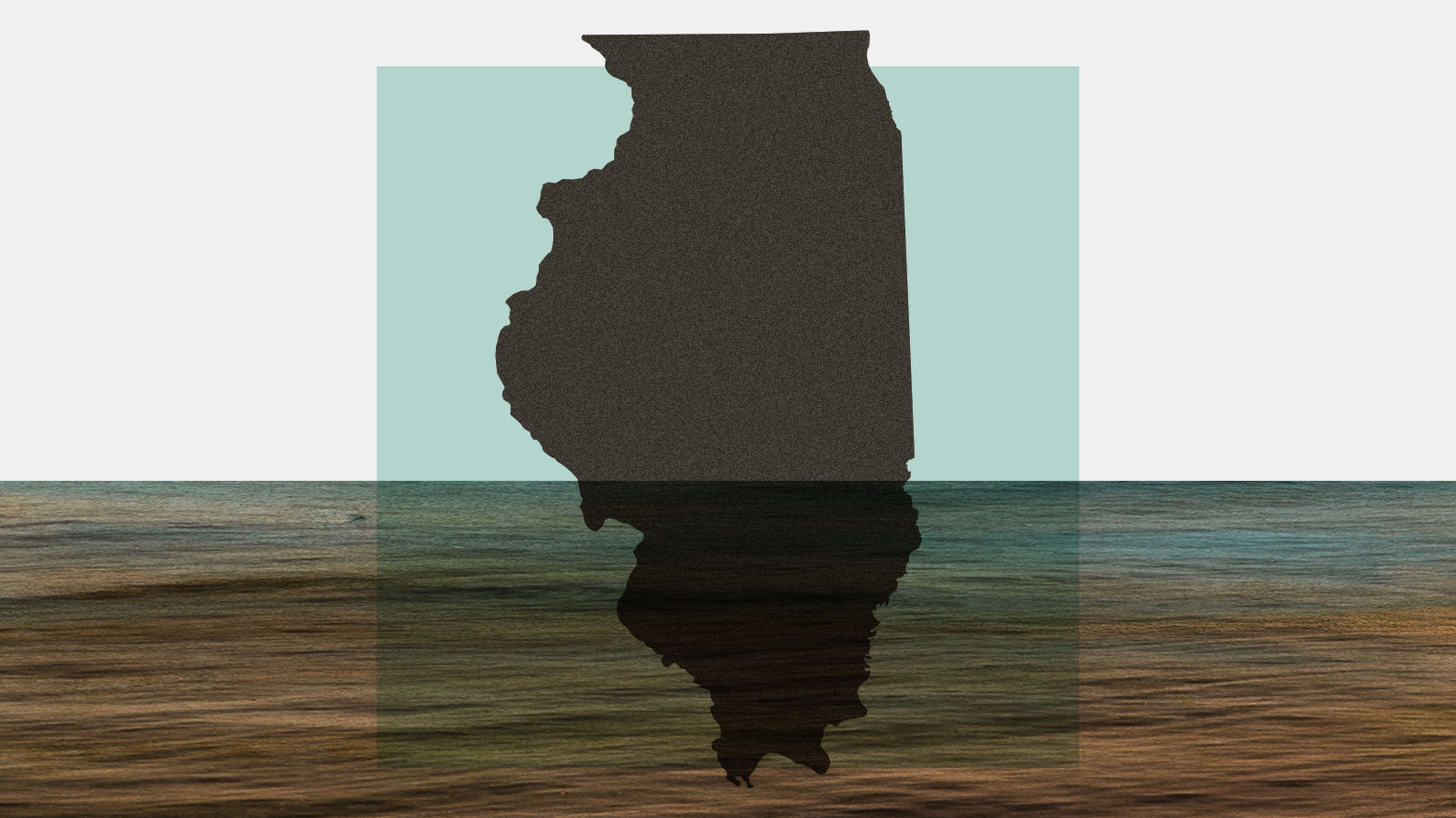 Silhouette of Illinois state with floodwater covering it halfway