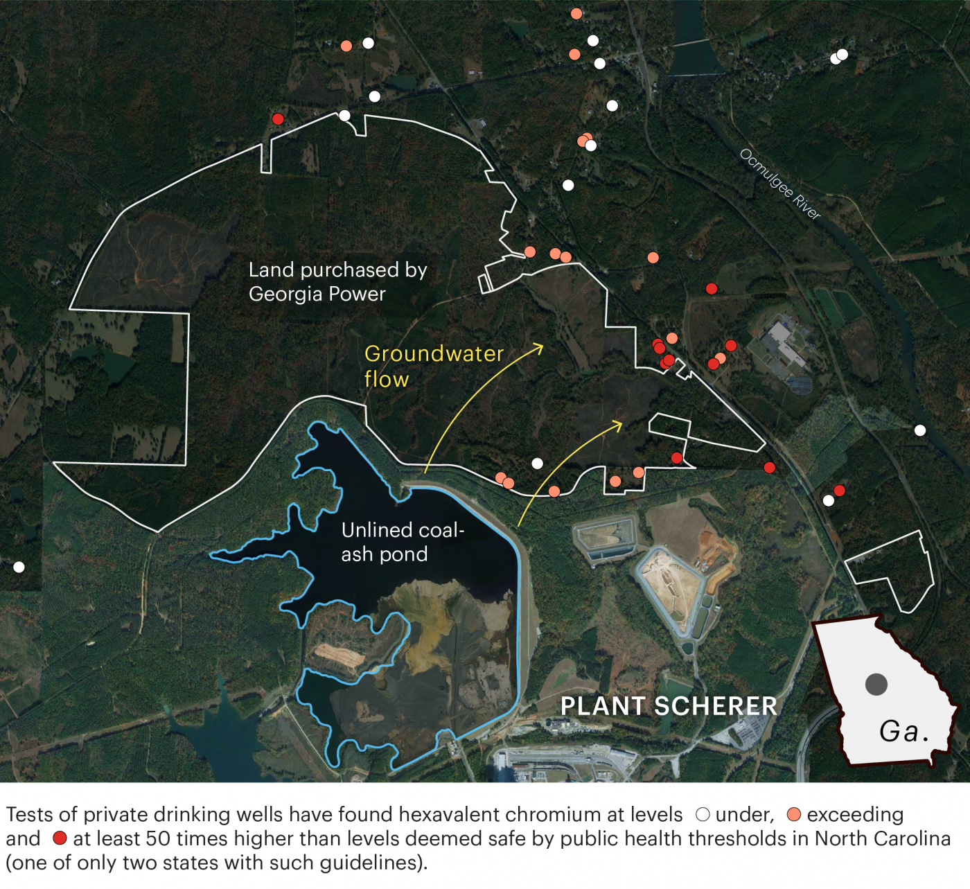 Chart showing groundwater flow from coal-ash pond