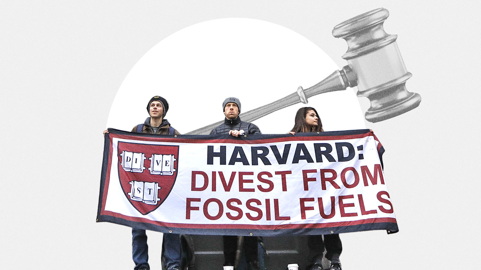 Students protesting Harvard to divest from fossil fuels with a gavel in the background