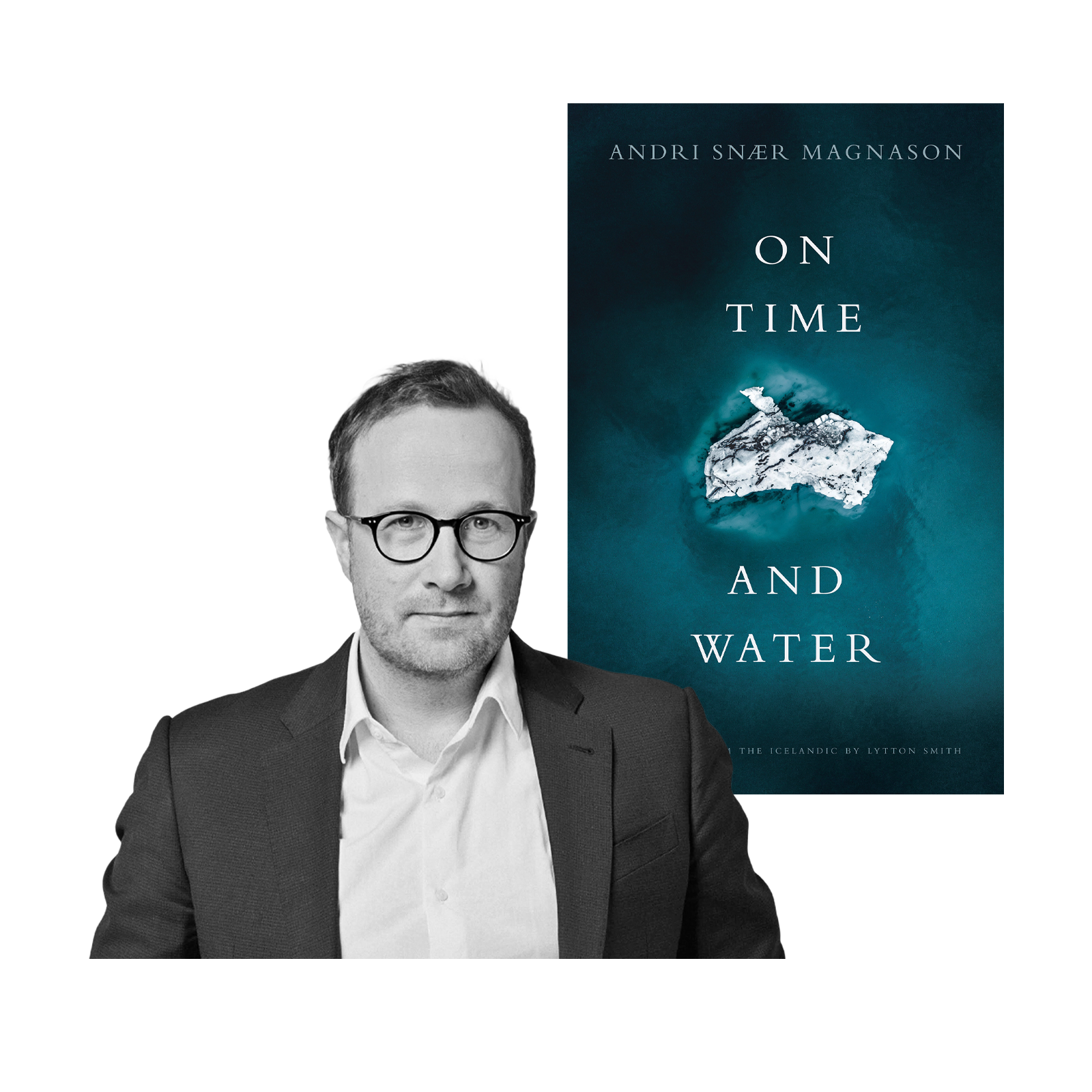 A photo of Andri Snær Magnason and the cover of his book,