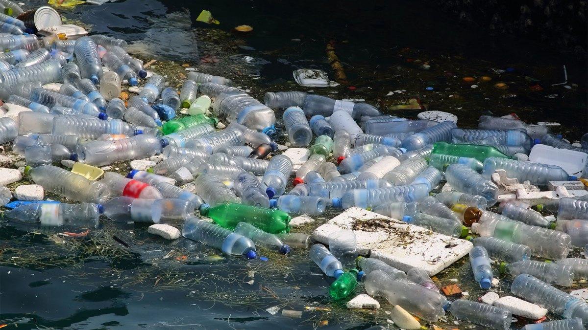بطری های پلاستیکی و سایر مواد زائد شناور در آب