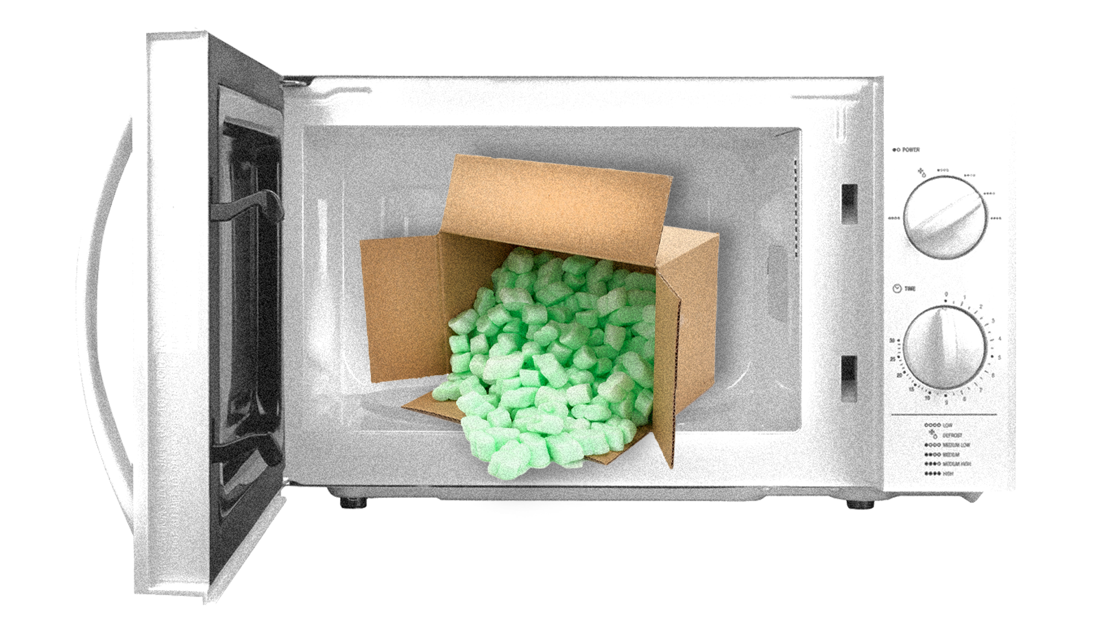 An open microwave with a box of polystyrene packing peanuts in it