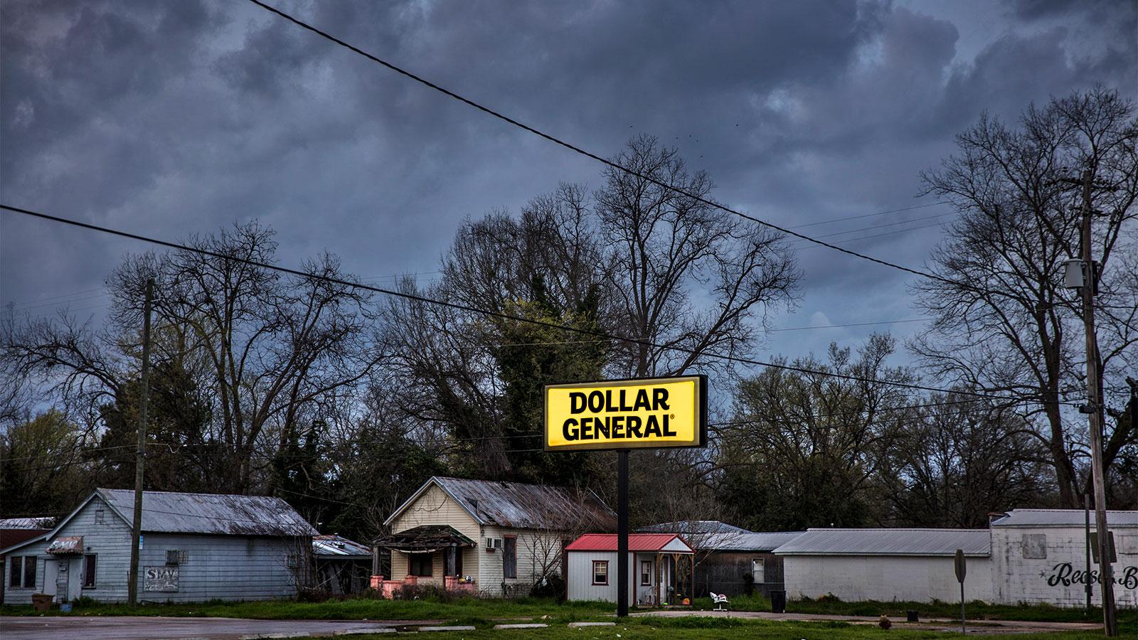 A Dollar General sign in Selma, Alabama