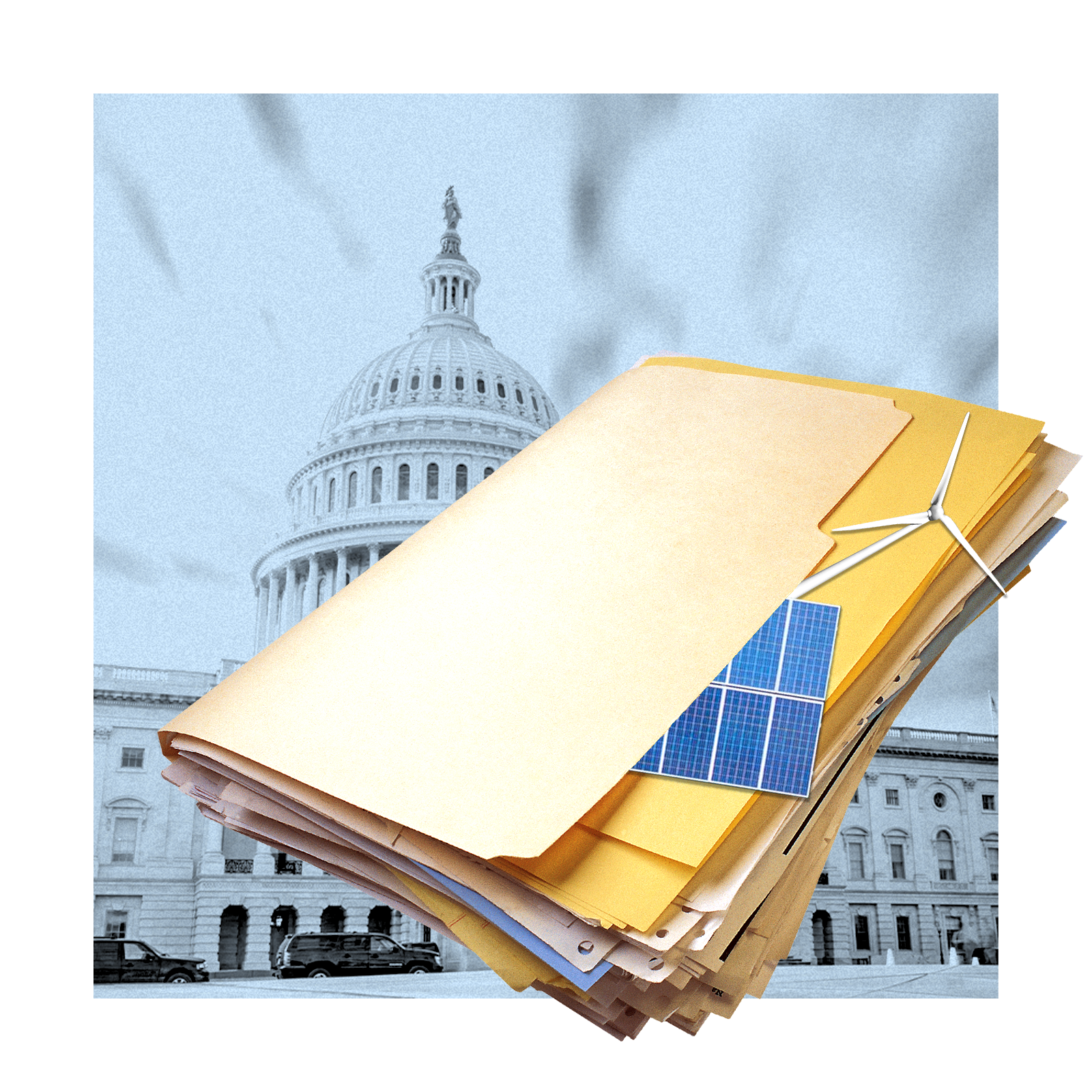 A manila folder filled with paper with a wind turbine and solar panel peeking out from under the cover, representing quiet climate policy.
