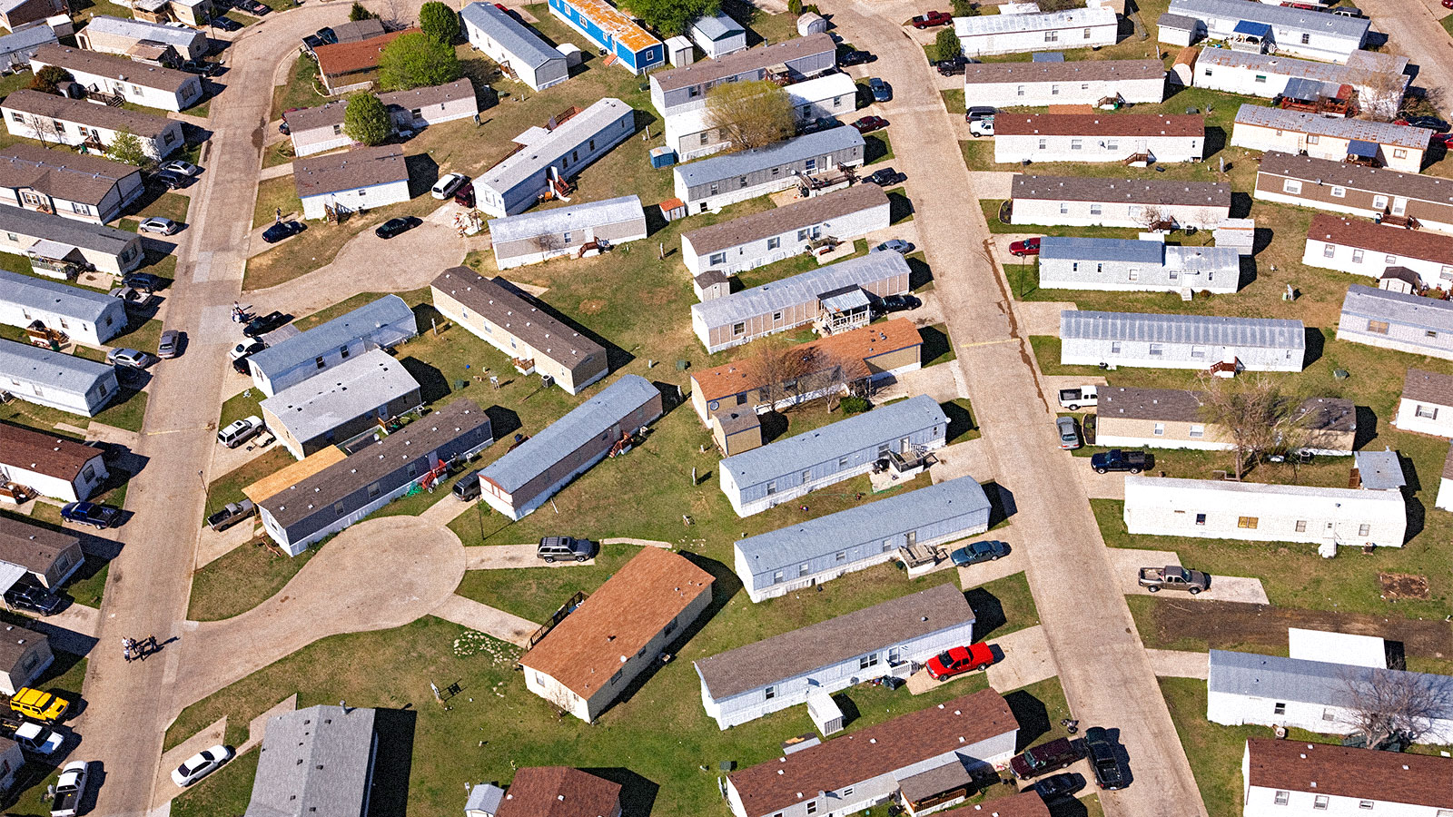 Aerial view of a mobile home park in Texas