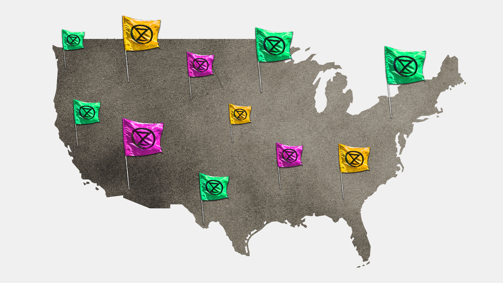 A map of the United States with Extinction Rebellion flags on it