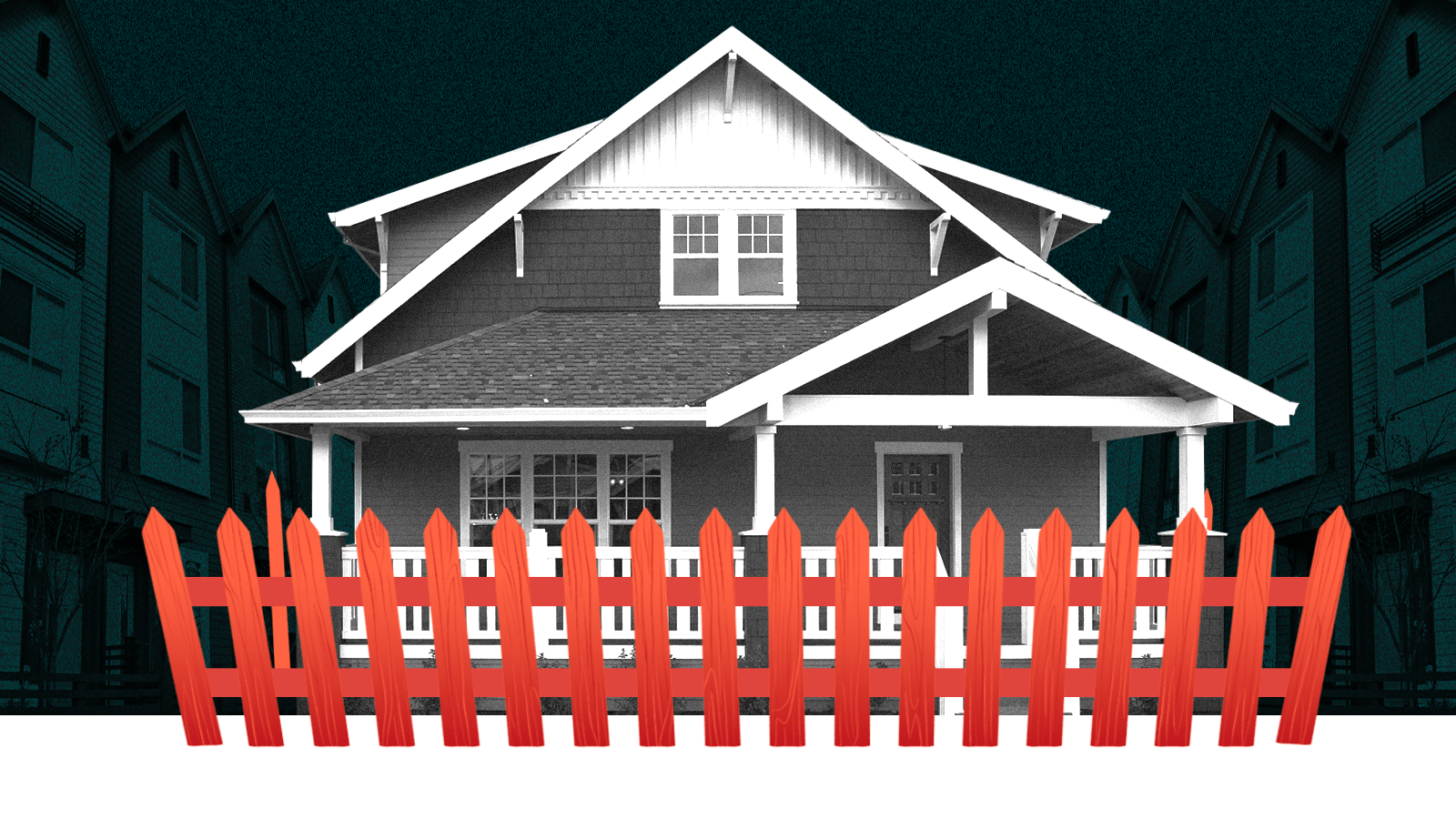 A large house with a red picket fence drawn around it and multi family housing on each side of the image