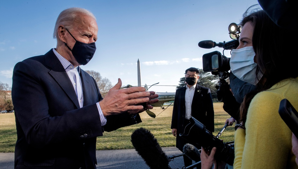President Joe Biden returns after spending the weeked at Camp David to the White House, on March 21 in Washington, DC.