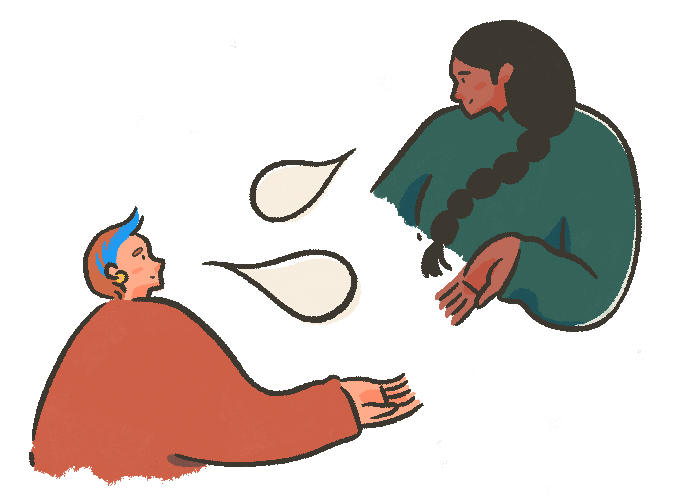 An illustration of two people speaking to one another via speech bubbles.