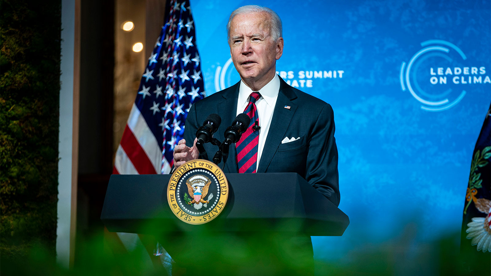 President Joe Biden delivering remarks during a virtual Leaders Summit on Climate