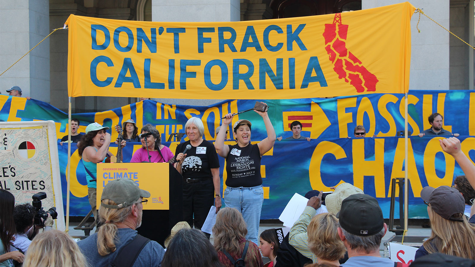 A protest against fracking in California