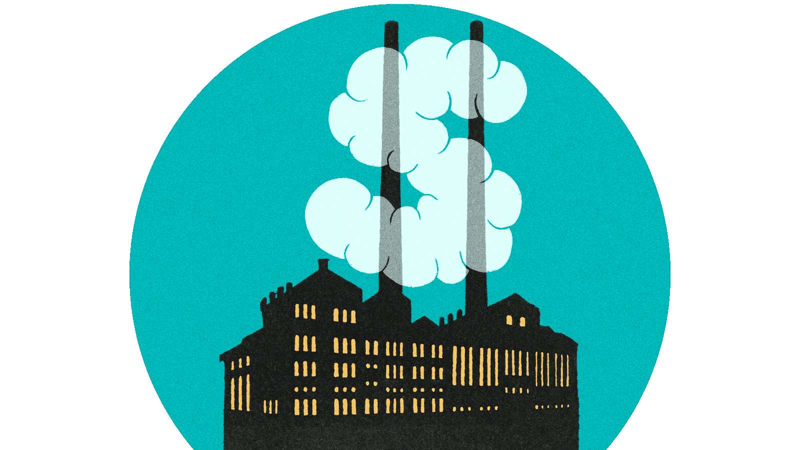 Illustration of silhouetted factory with smokestacks and clouds forming a dollar sign