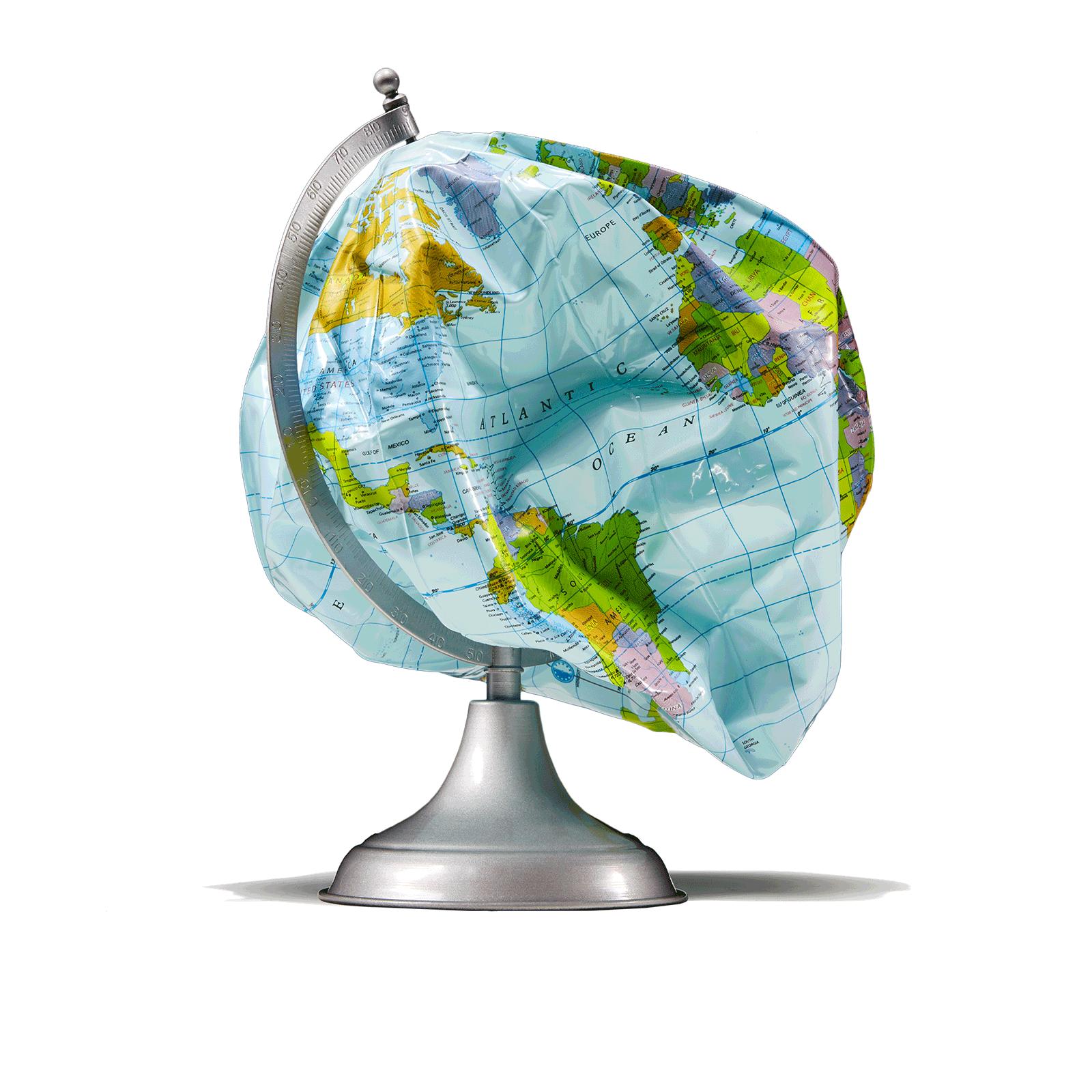 A deflated globe