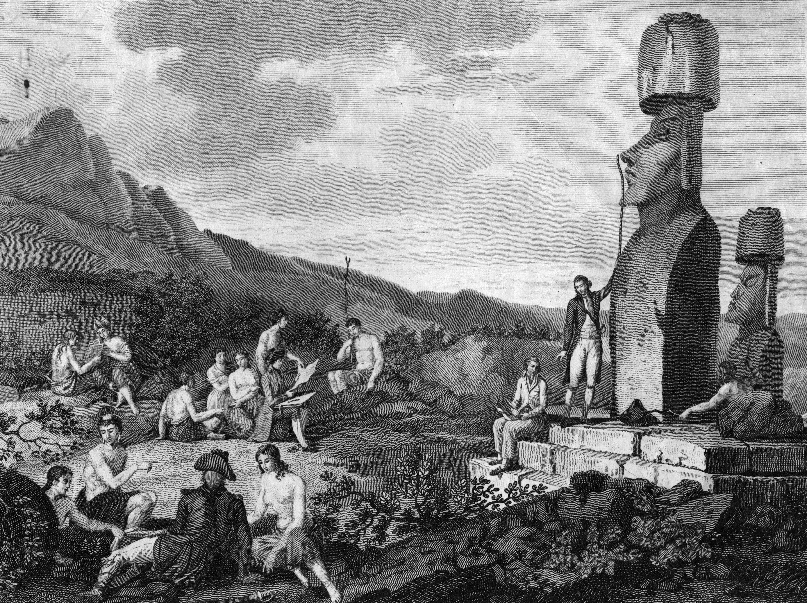 A black-and-white illustration shows a man measuring a large head statue as others lounge among rocks and bushes.