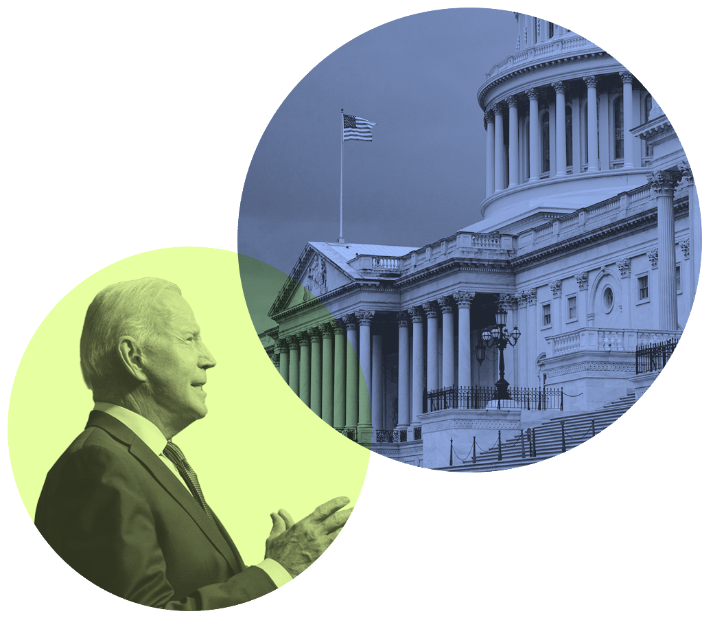 An image of US President Joe Biden, who recently laid out his initial budget proposal for next year, next to an image of the US Capitol.