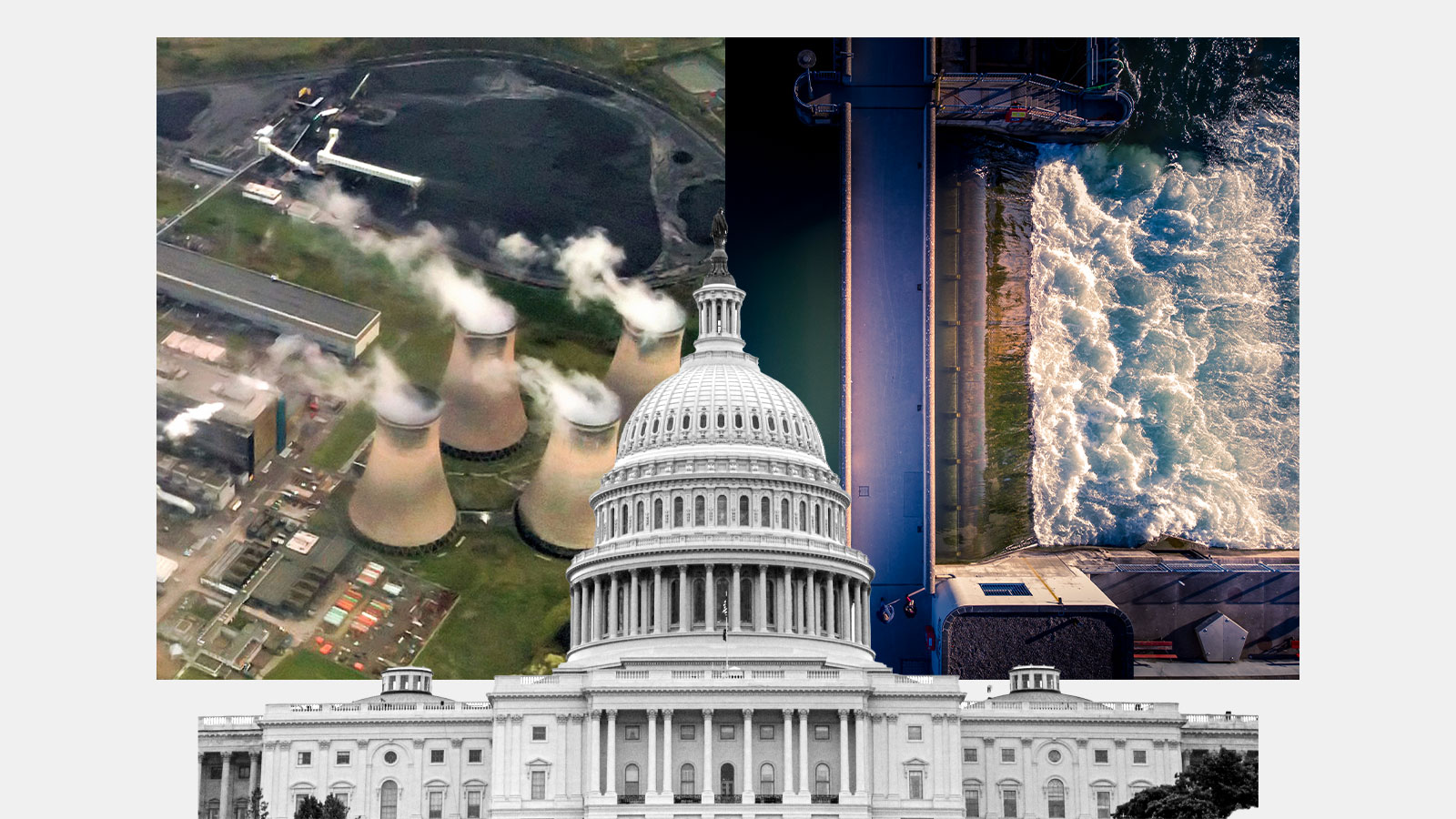 Capitol building in front of an image of nuclear cooling towers and a dam