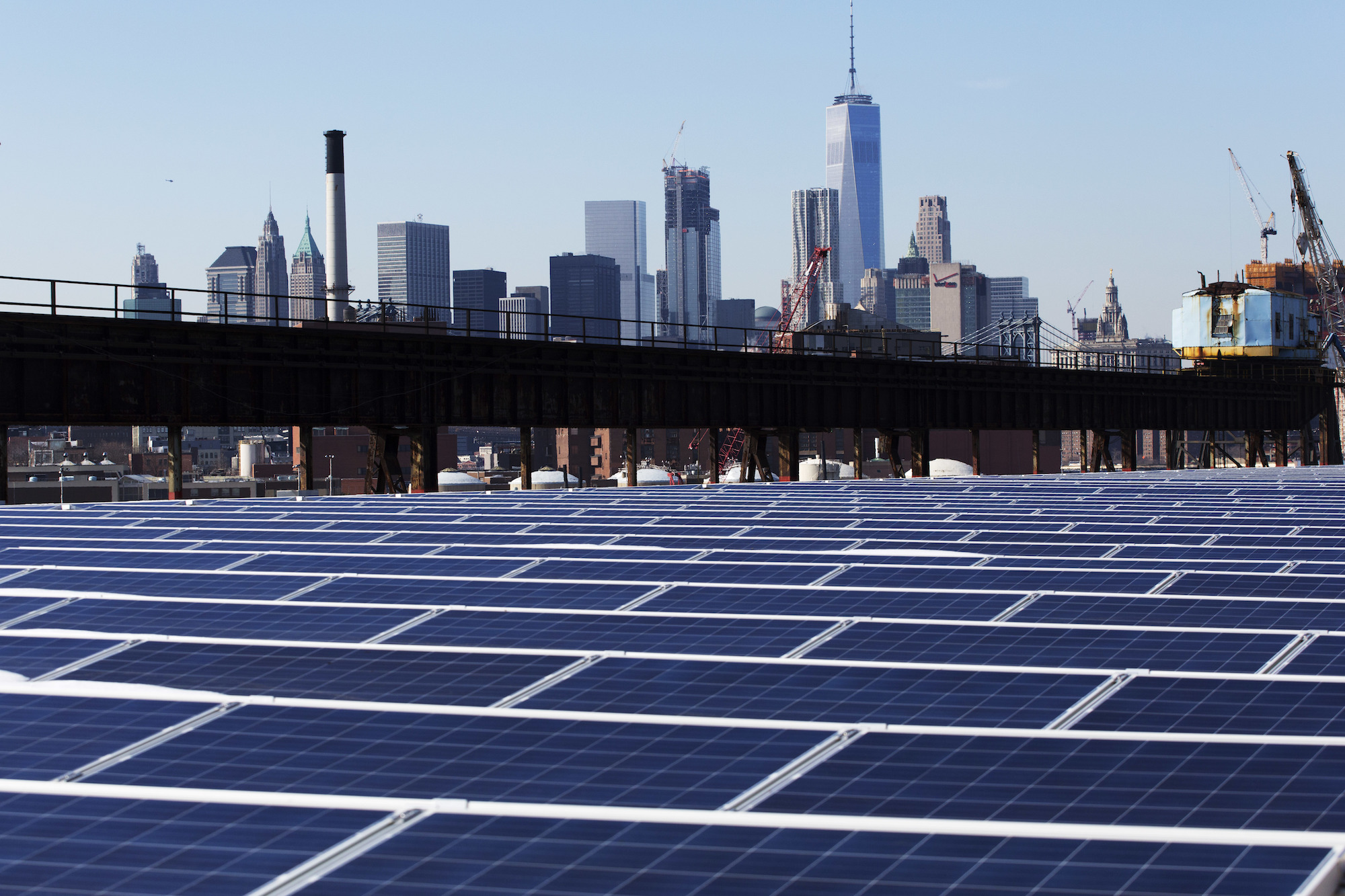 a photo of many rooftop solar panels along the bottom of the image. Above, you can see the Manhattan skyline with man tall skyscrapers.