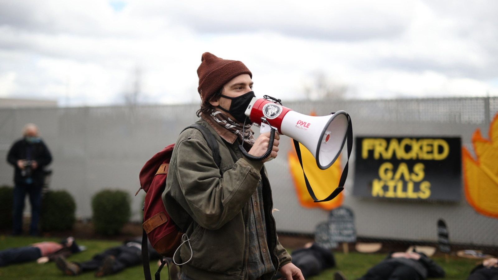 person with bullhorn