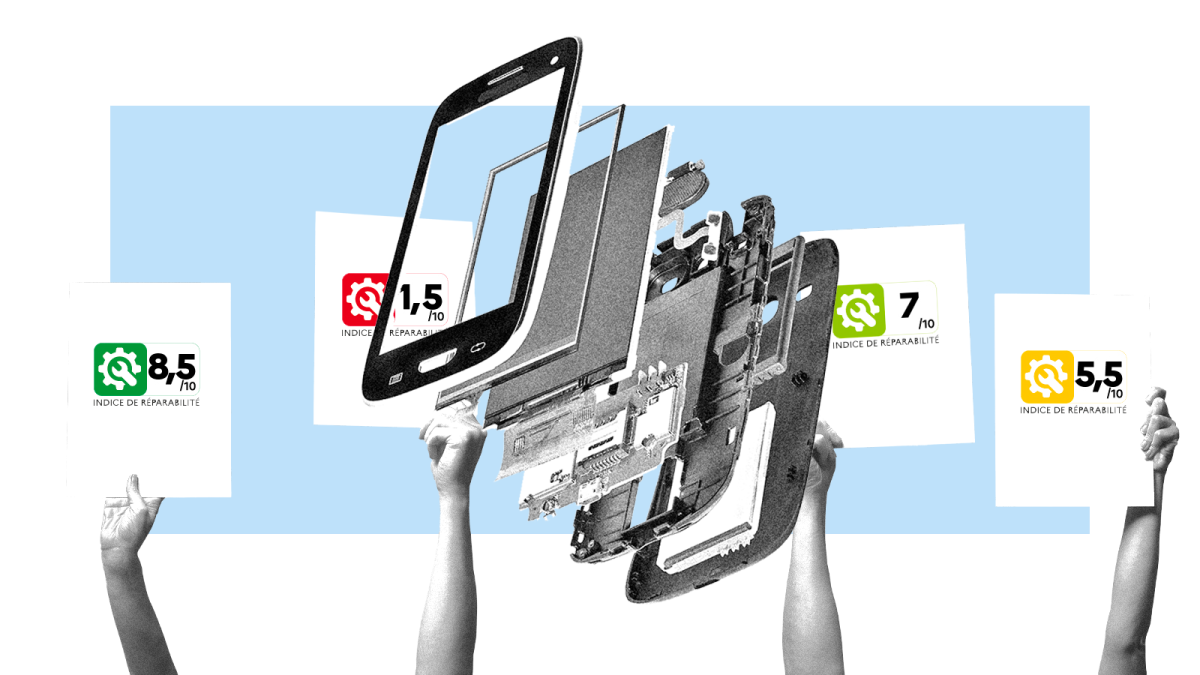 A disassembled smartphone with hands holding up scorecards