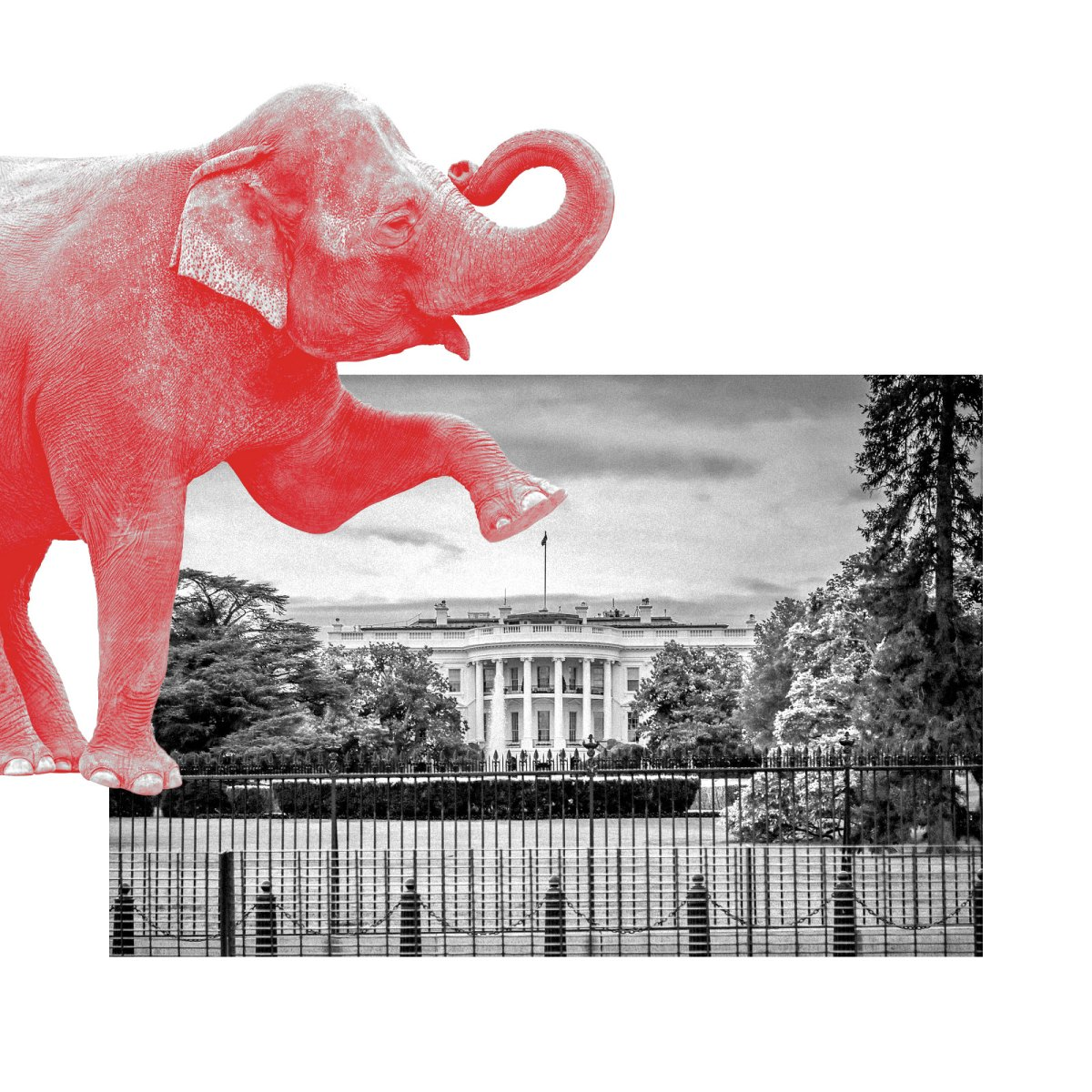 A red elephant stomping on the White House