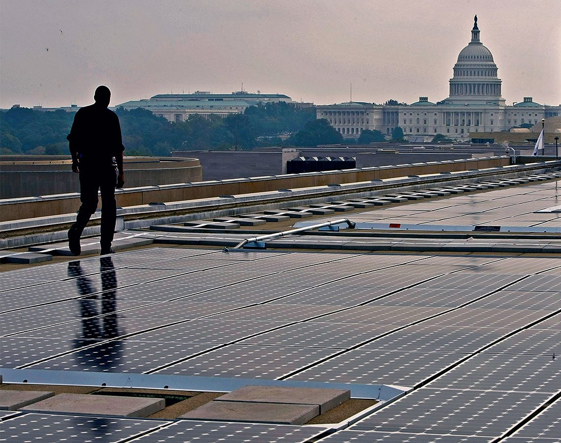 Solar panels on top of the roof of the U.S. Department of Energy Building in Washington, DC