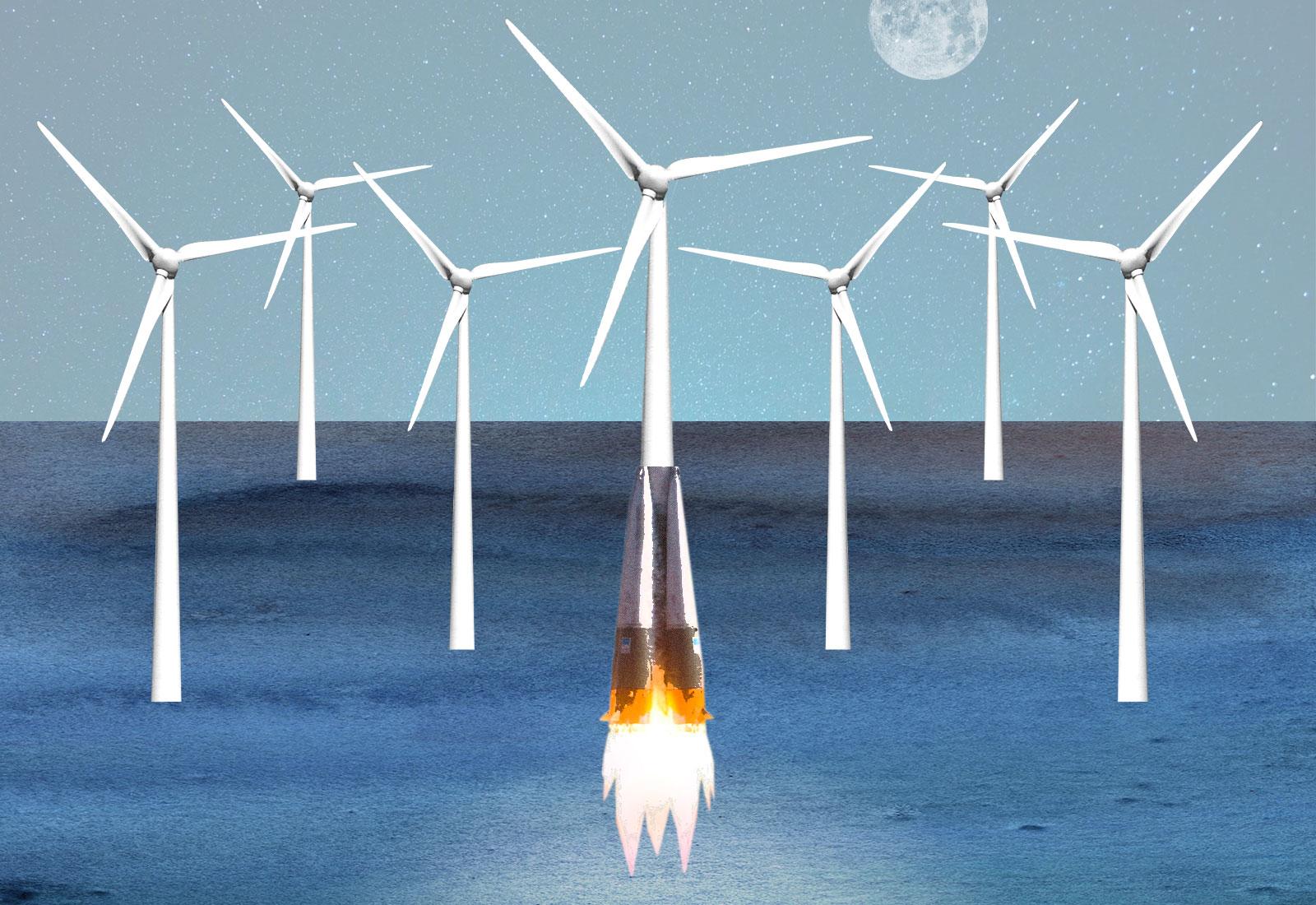 offshore wind turbines blasting off
