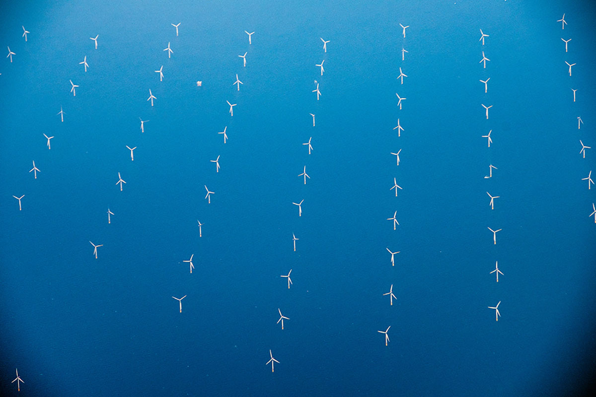 Aerial photo of an offshore wind farm
