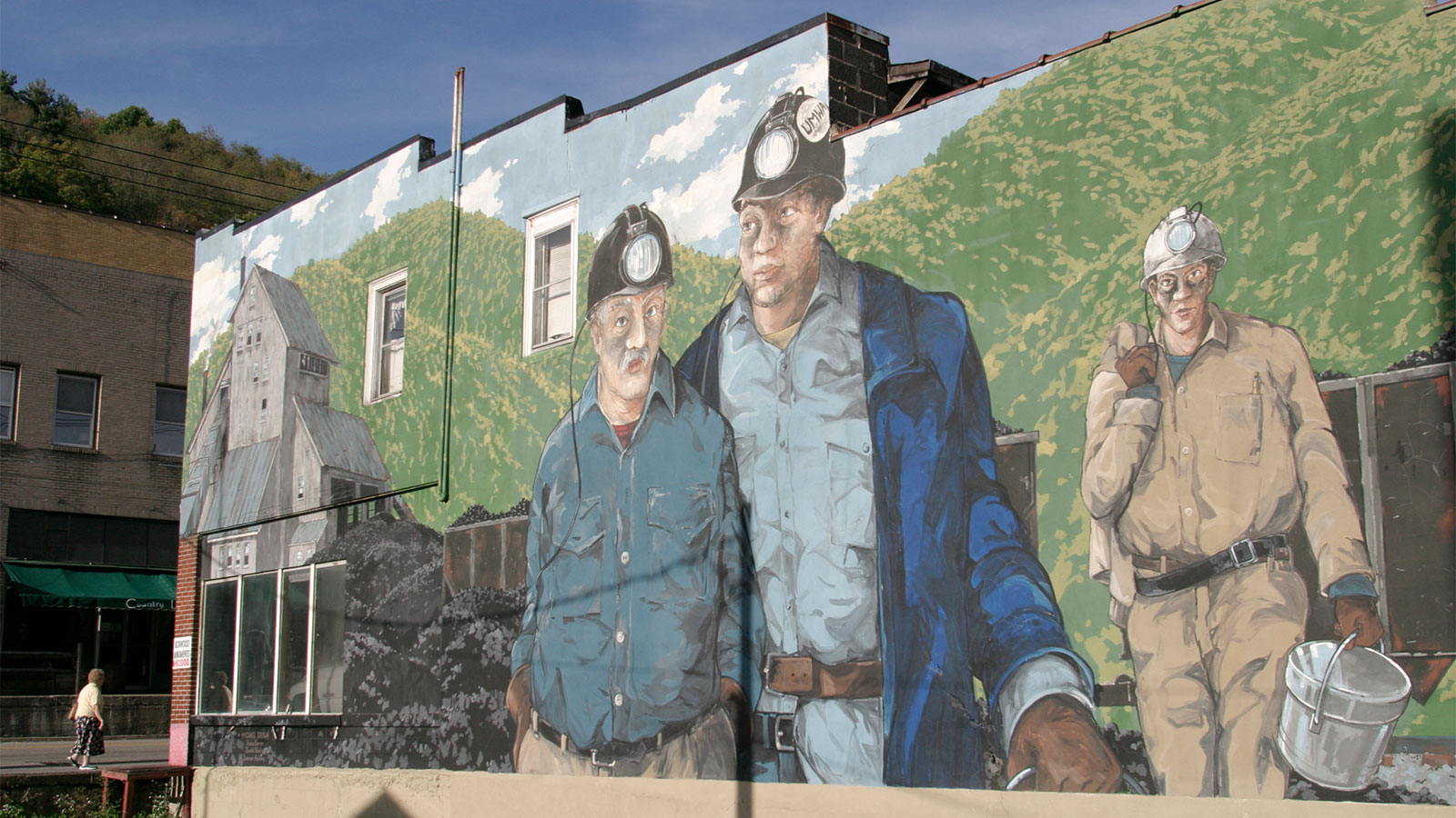 A coal miners wall mural on Main Street in Richwood
