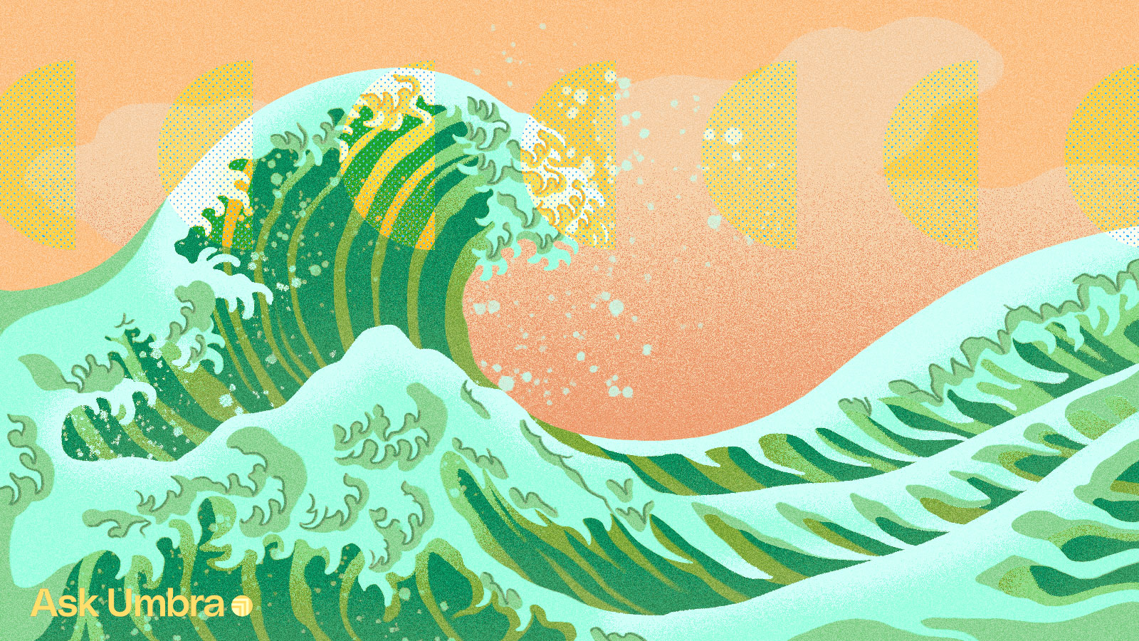 Illustration of a green wave in the style of Hokusai