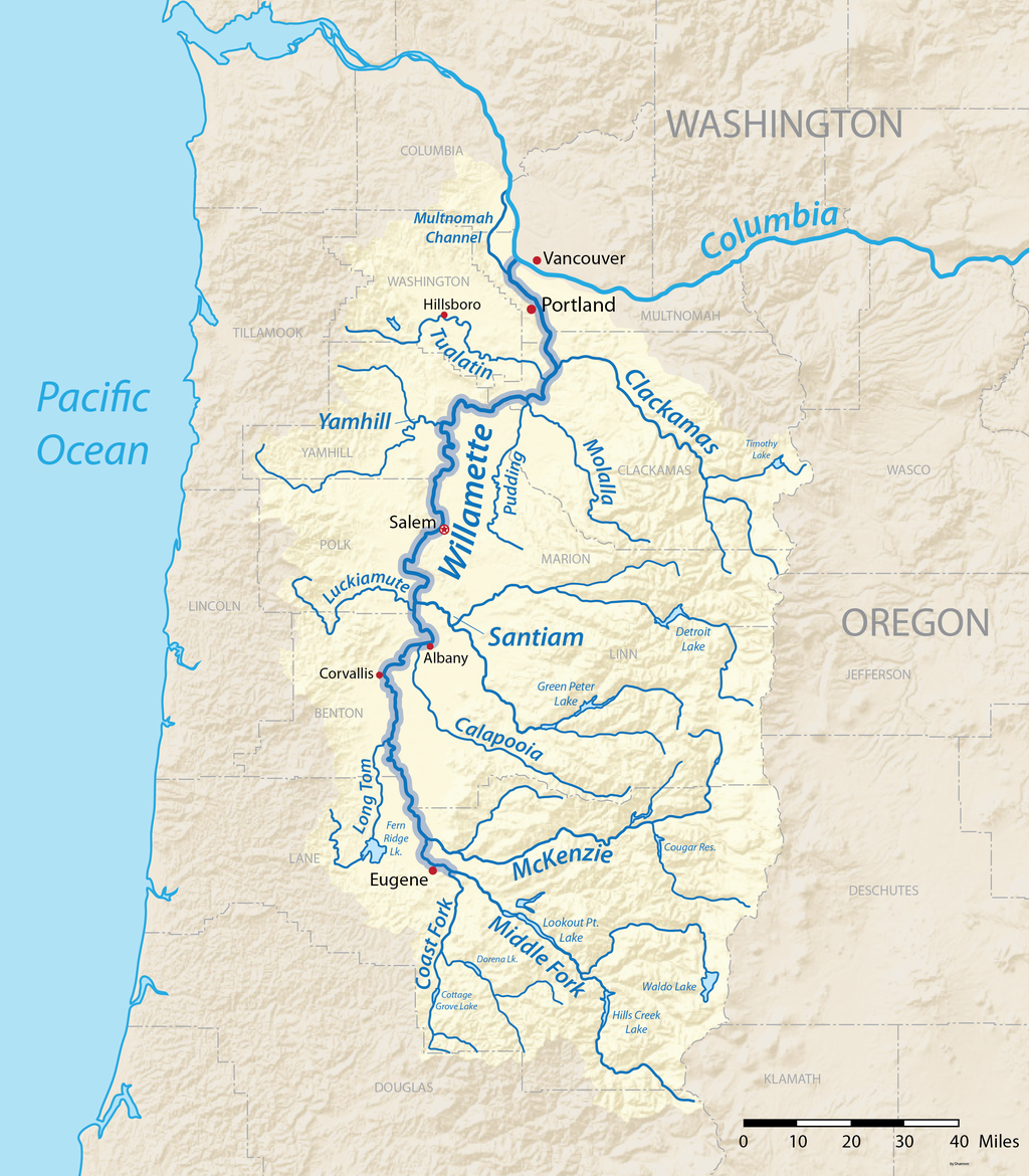 A map of the Willamette River