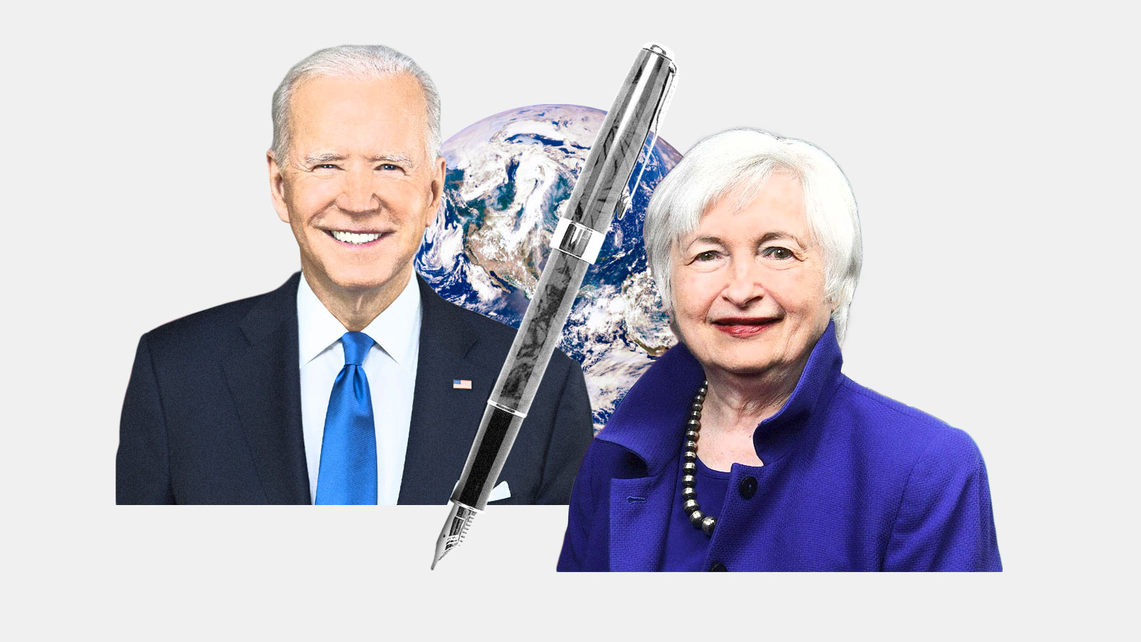 Joe Biden and Janet Yellen with a pen in between them and an Earth in the background