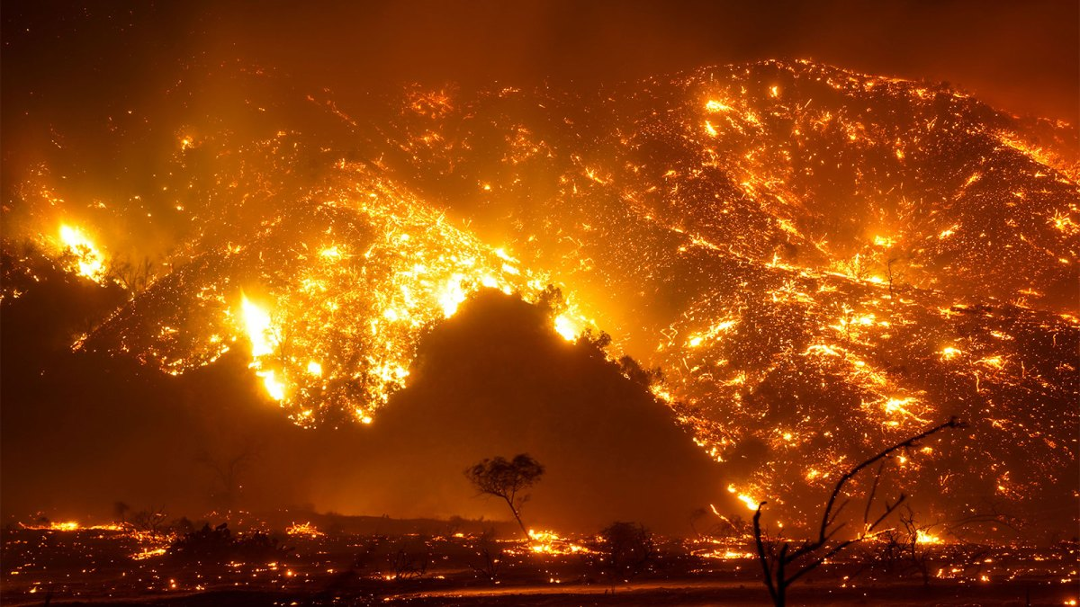 A photograph of the Bond Wildfire in California