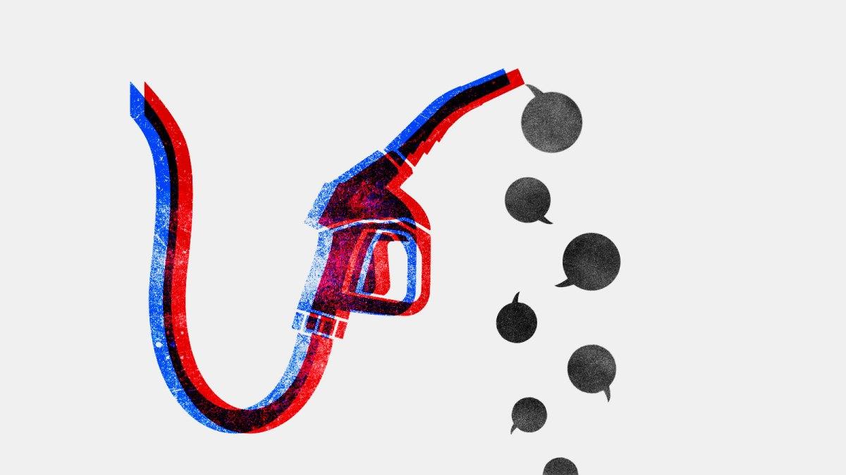 Illustration of a gas pump dripping speech bubbles