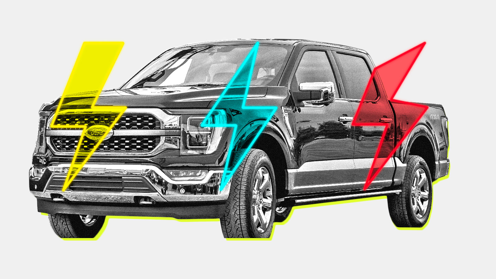 A photo collage of a Ford F-150 truck with colorful lightning bolts on top of it