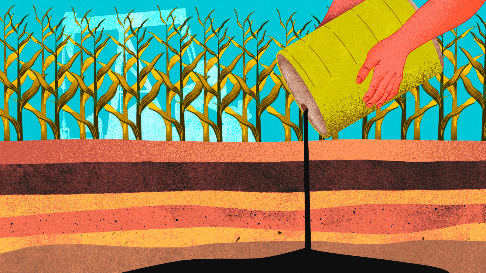 A person is pouring a barrel of oil into layers of soil, representing the carbon removal work of Charm.