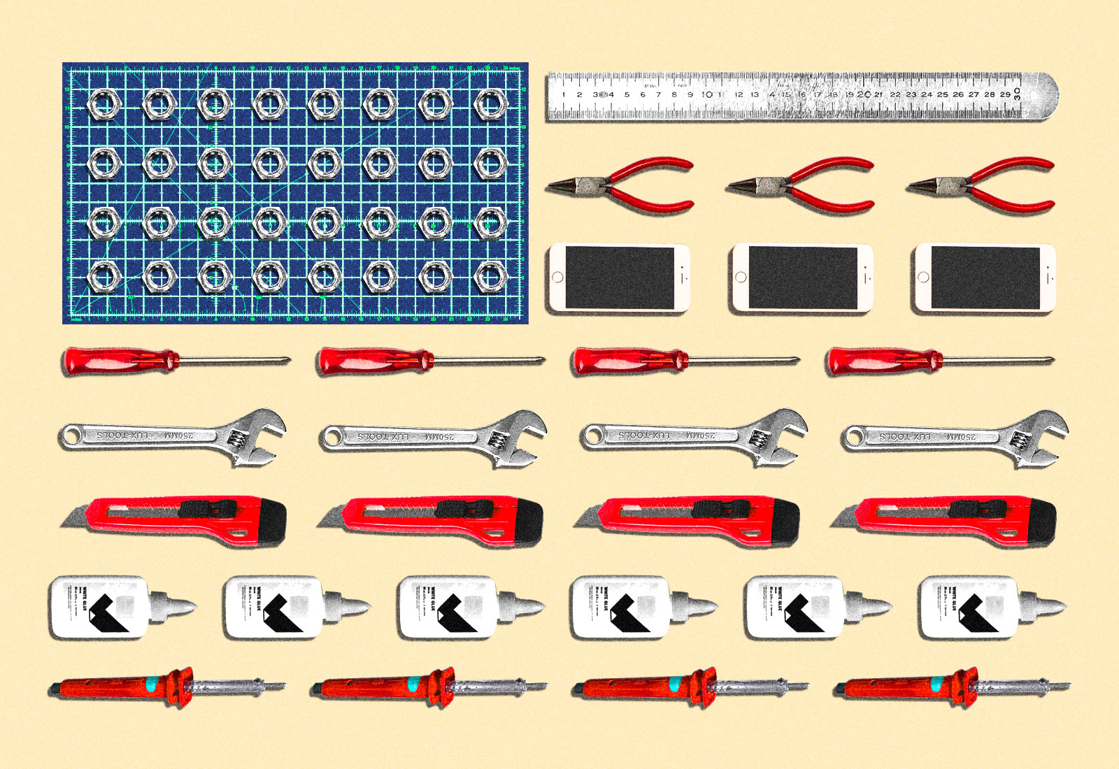Variety of tools making an American flag