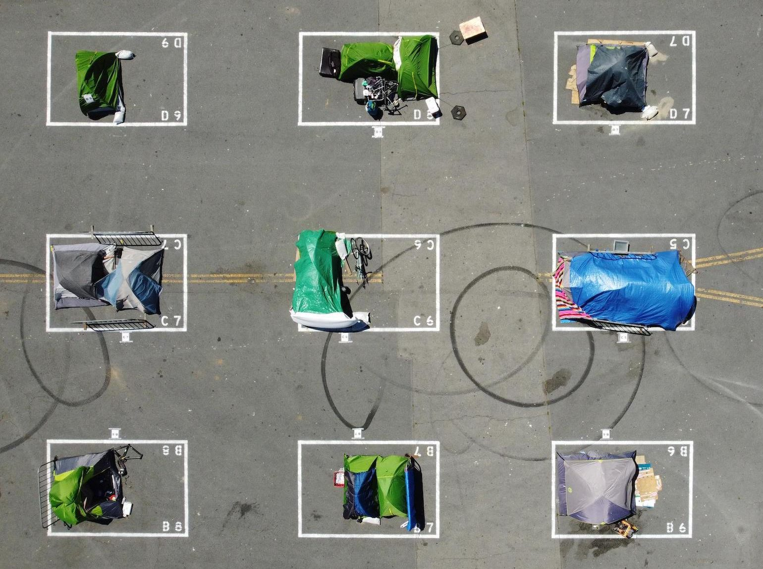 An aerial view of San Francisco city-sanctioned tent encampment for the homeless during the COVID-19 pandemic.