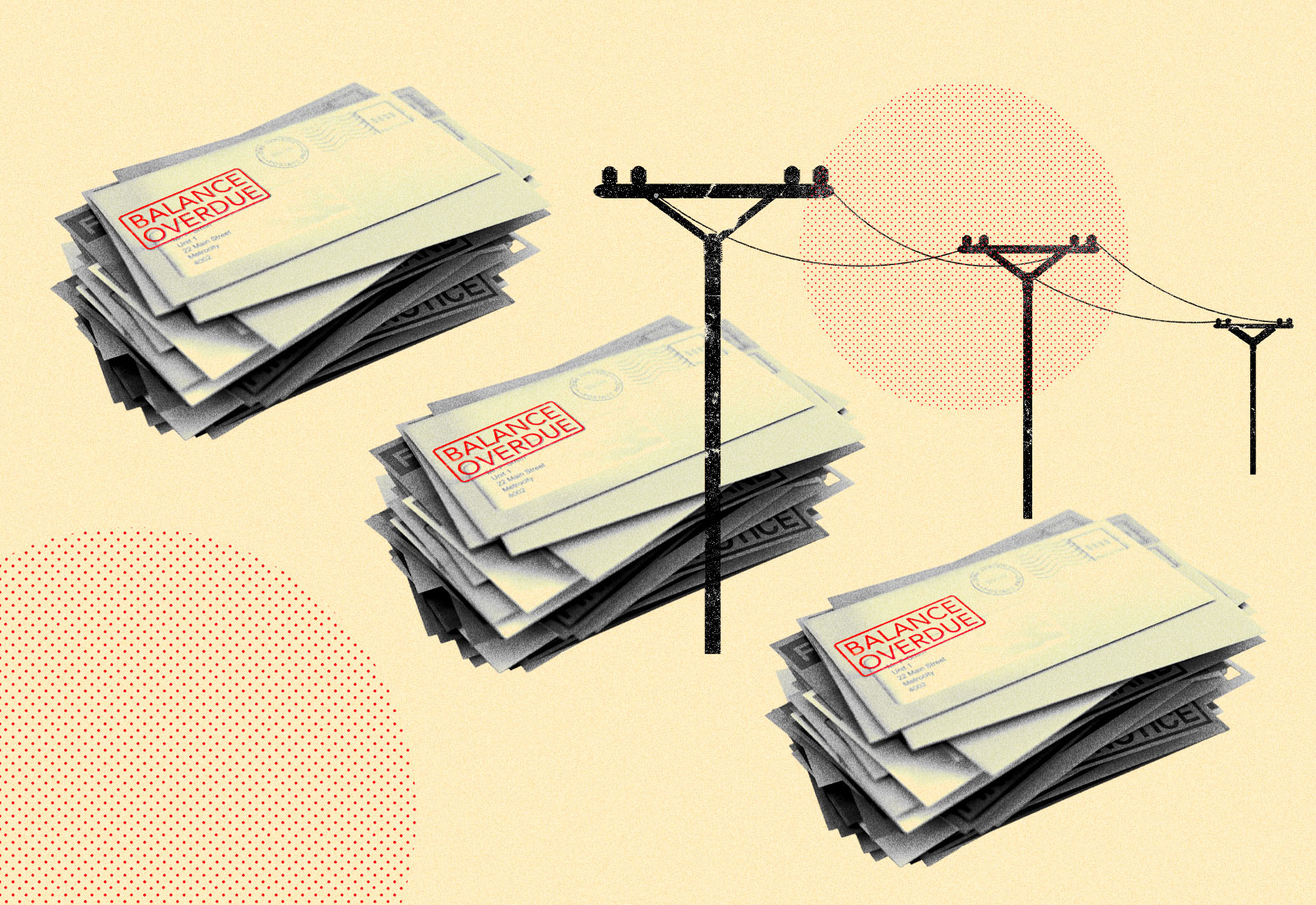 Photo collage of stacks of overdue bills and power lines