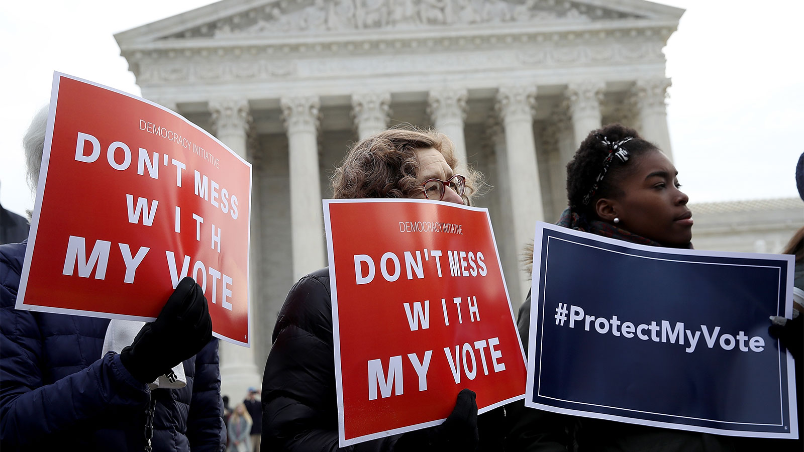 Voting rights activists protgesting in front of the U.S. Supreme Court building in Washington, DC