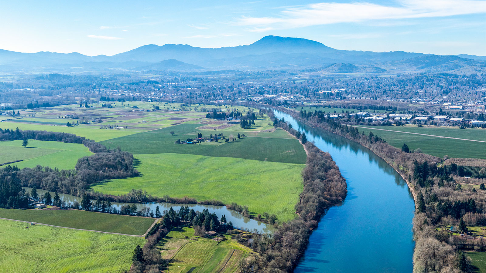 An aerial view of the Willamette Valley in Oregon.