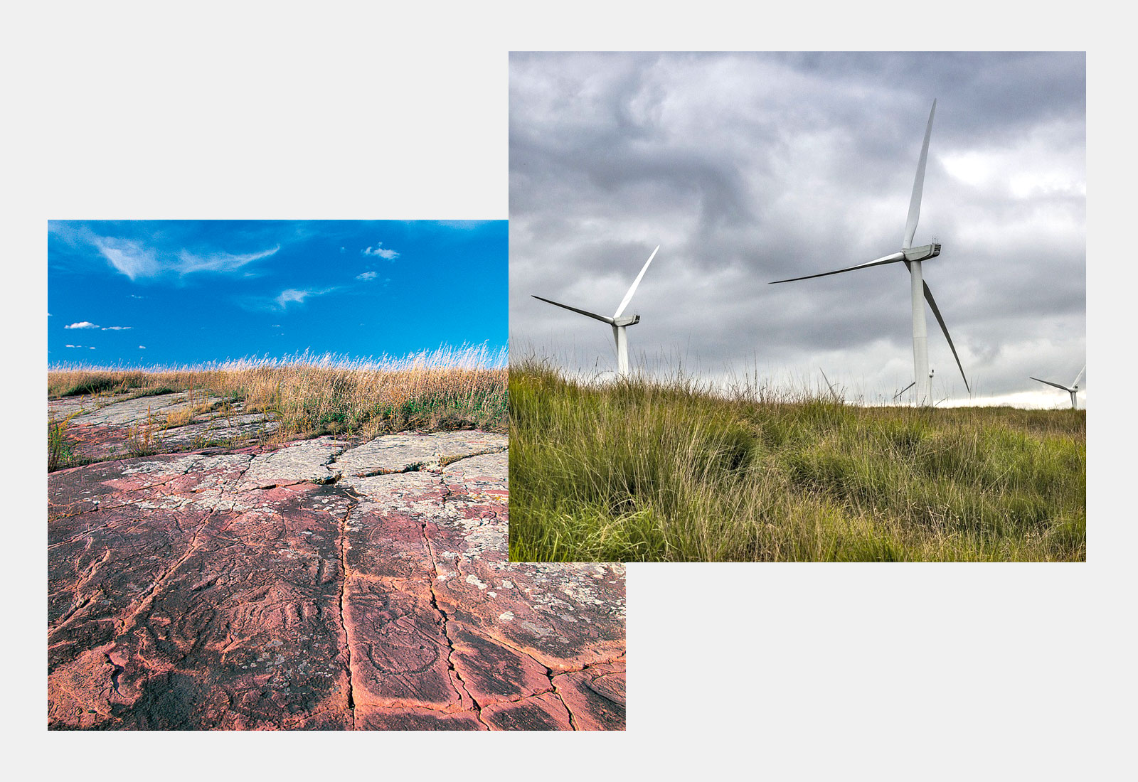 Side by side are two pictures, one of the petroglyphs and prairie and one of two wind turbines on a prairie.