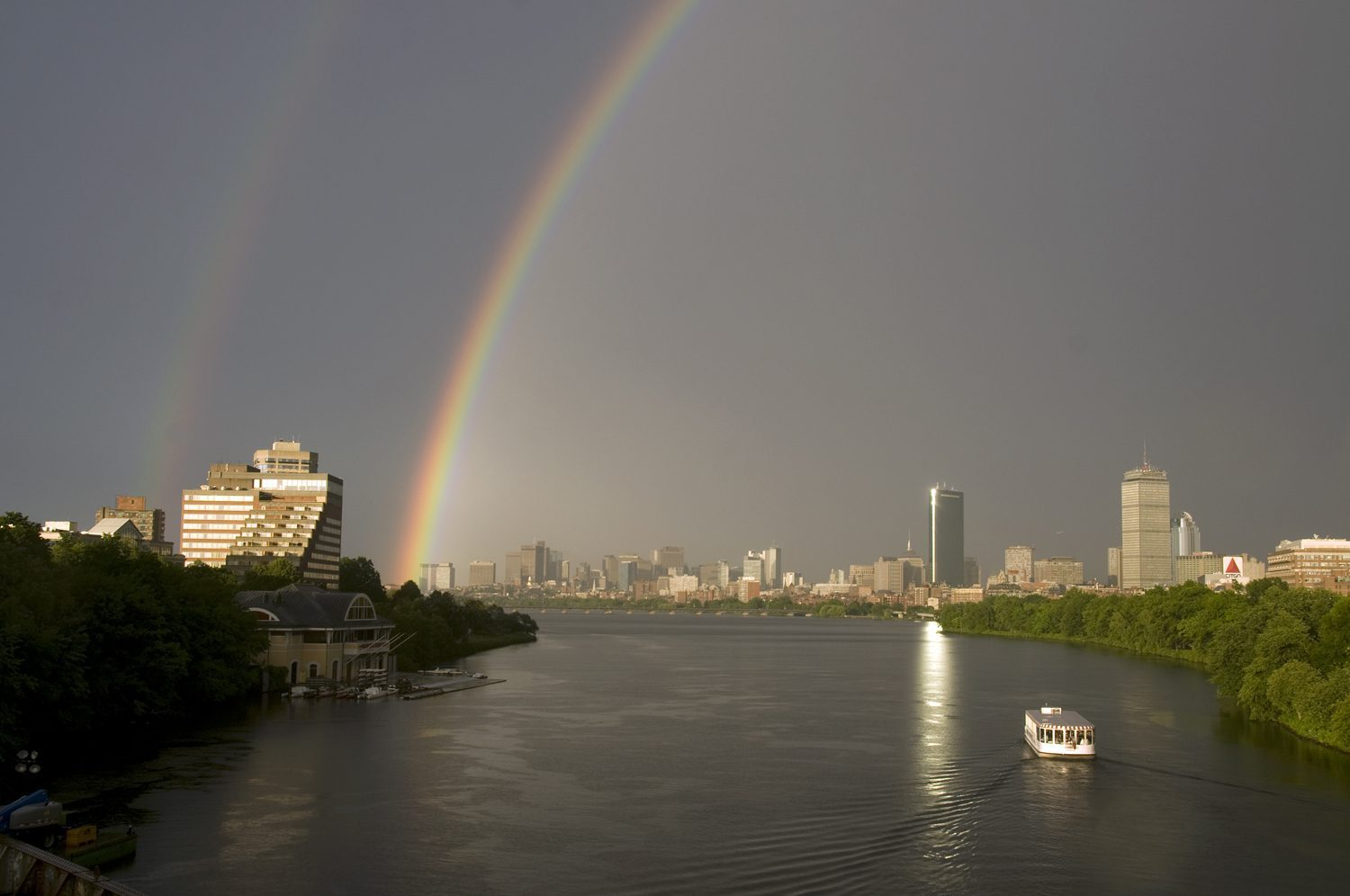 Double rainbow over the Charles River